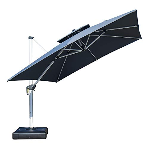 - PURPLE LEAF 10 Feet Double Top Deluxe Square Patio Umbrella Offset Hanging Umbrella Cantilever Umbrella Outdoor Market Umbrella Garden Umbrella, Grey