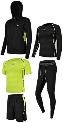 レディースジャージ上下セット 半袖Tシャツショートパンツ5個のメンズワークアウトウェアセット長袖シャツタイトパンツ 吸汗 速乾 (Color : Black green, Size : S)