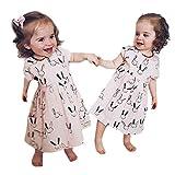 NUWFOR Toddler Baby Kid Girl Summer Rabbit Print Pocket Princess Dresses Casual Clothes(Beige,18-24 Months)