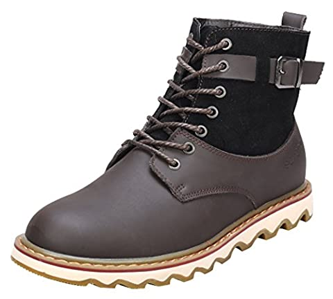Serene Christmas Mens Leather Suede Comfortable Fur Lined Lace Up Buckle Side Winter Snow Boots(7 D(M)US, (Rugged Bear Plush)