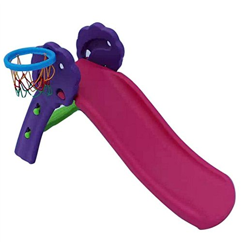 USSay ETohio Slide Children Slide Plastic Toy Slide Chute Children's Basketball Hoop Indoor Slide Up And Down, 5-7 Days You Can Receive the Goods (Hot Pink)