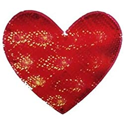 Impact Lighted Valentine's Day Shimmering Red Heart Window Silhouette Decoration, 12""