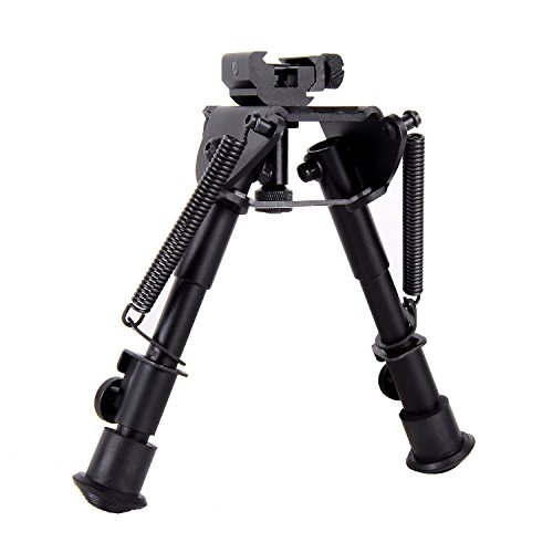 Ohuhu 6-Inch to 9-Inch Adjustable Handy Spring Return Sniper Hunting Tactical Rifle Bipod, 360° Revolving Design