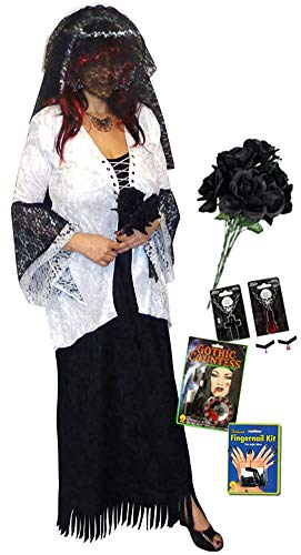 (Ghost Zombie Bride Plus Size Halloween Costume Deluxe Kit)