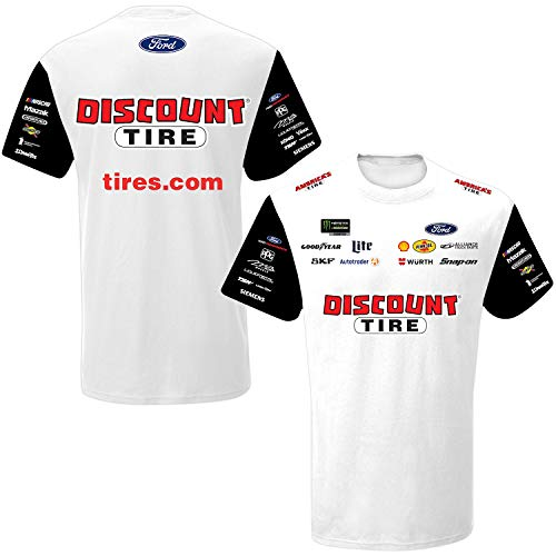 - SMI Properties Brad Keselowski 2019 Sublimated Pit Crew NASCAR T-Shirt (X-Large) White, Black