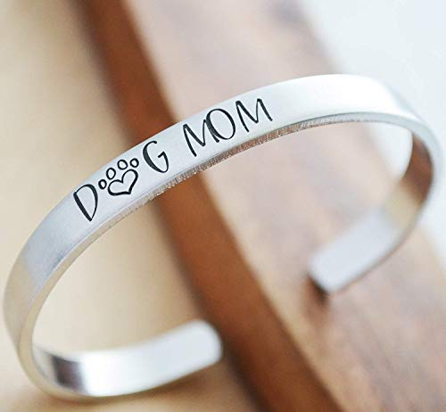 Dog Mom Hand Stamped Aluminum Cuff Bracelet for Women Best Friend Gift Fur ()