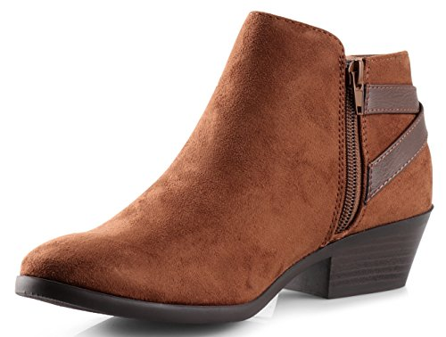 Ankle Round Us Western Women's Soda Heel Clay Cognac 85 New Bootie M Faux Toe Suede Stacked pO8q5Ow