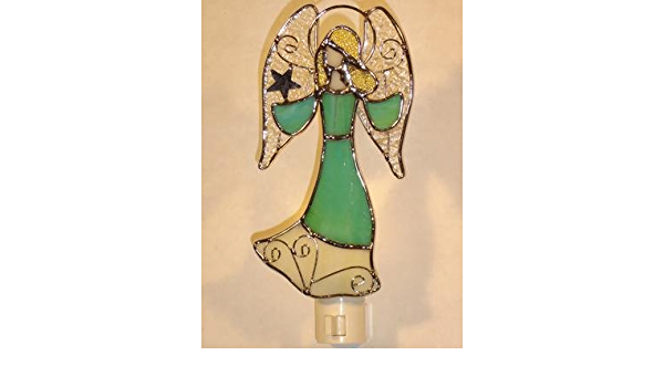 9009-43 Stained Glass Cream Angel Night Light New