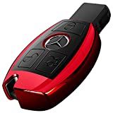 Intermerge for Mercedes Benz Key Fob Cover, Special Soft TPU Key Case Cover Protector Compatible with Mercedes Benz C E S M CLS CLK G Class Keyless Smart Key Fob_Red Color