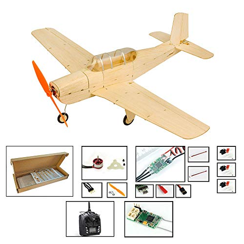 - Mini Balsa Wood RC Airplane Kit Beechcraft T-34 Model Aircraft, 18.5'' Laser Cut RC Plane Kit to Build for Adults, Electric Hobby Airplane Unassembled Kits+Motor+ESC+Servos+TX/RX(Right Hand Throttle)