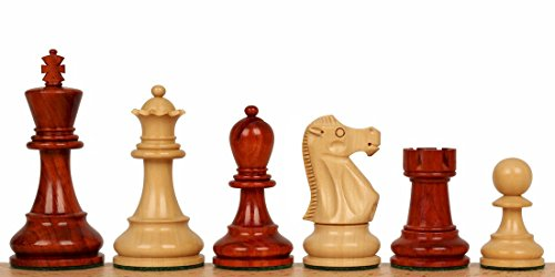 Pieces Weighted Chess Double Staunton (Deluxe Old Club Staunton Chess Set in African Padauk & Boxwood - 3.75