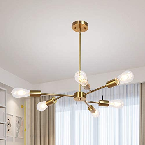 Banato Sputnik Chandelier 6 Lights Modern Hanging Pendant Lighting Industrial Vintage Brushed Brass Ceiling Light Fixture