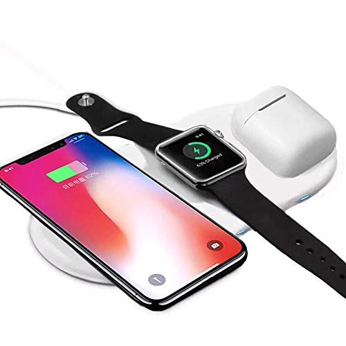 Mandarooker Fast Wireless Charging Docking Station, 3 in 1 Qi Fast Wireless Charger Pad Compatible for iWatch 3/2,iPhone X/8Plus/8,Samsung Galaxy S9/9+/S8/S8+,Wireless Charging Case for Airpods