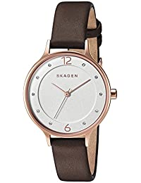 Skagen Women's 'Anita' Quartz Stainless Steel and Leather Automatic Watch, Color:Brown (Model: SKW2472)