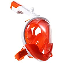 Full Face Snorkel Mask, [2018 Upgraded] 180°Wide View Freely Breath Leak Proof Dry Top Set 2 Air Chambers Fog Free Surface Dive Snorkeling Masks w/ Sport Camera Mount Pivot for GoPro (Orange, L/XL)