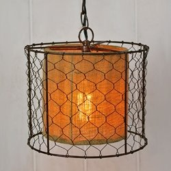 Pendant Light Lamp, Rustic Chicken Wire Shade with Burlap Center ...
