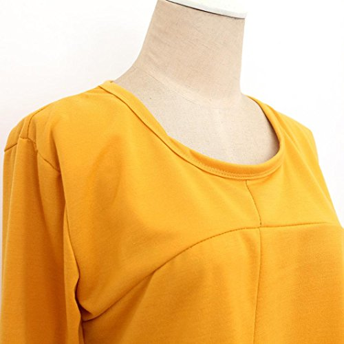 Rcool Mujeres Otoño Invierno manga larga vestido de bolsillo sólido O cuello Casual Falda suelto Amarillo