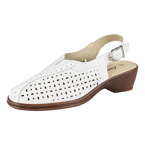 HSM Schuhmarketing - Sandalias de vestir de Material Sintético para mujer blanco Weiß Weiß