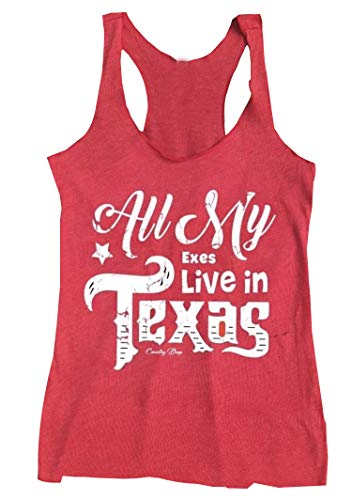 Anbech Womens All My Exes Live in Texas King George Strait Inspired Summer Racerback Tank Tops Size L (Red) (All My Exes Live In Texas Shirt)