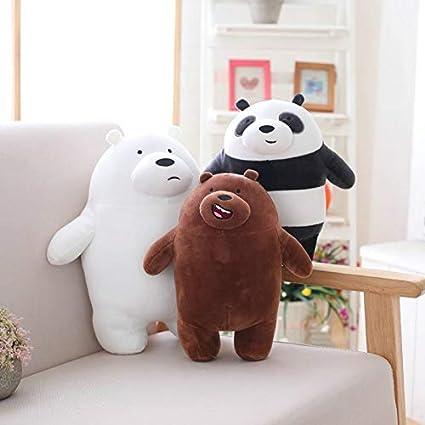 Peluche Kawaii We Bare Bears Peluche Cartoon Orso farcito Grizzle Orso Bianco Grigio Panda Doll Bambini Amore Regalo di Compleanno 27cm 27cm Nero