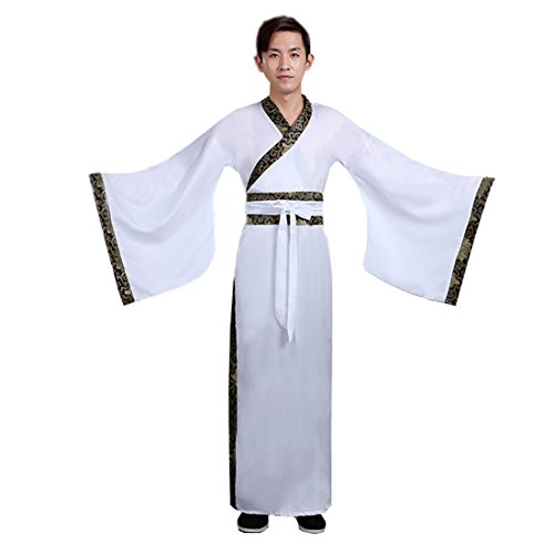 Han Chinese Costume Show (Ez-sofei Men's Ancient Chinese Han Dynasty Costumes Hanfu Robes (L, White))