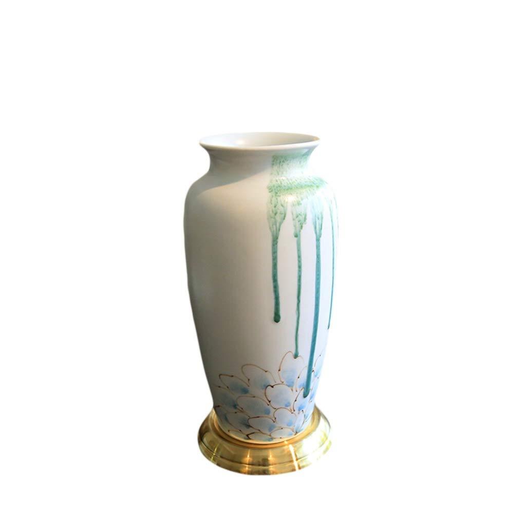 LIULIJUN 花瓶ゴールド新しい古典的な蓮の花ホームモデルルームヴィラリビングルームダイニングルーム食器花瓶装飾飾り B07T46F2MQ