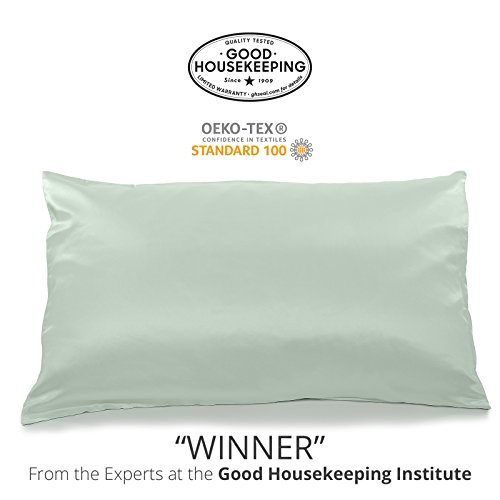 Fishers Finery 25mm 100% Pure Mulberry Silk Pillowcase Good Housekeeping Winner (Light Green, K)