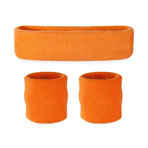Suddora Kids Sweatband Set (1 Headband / 2 Wristbands) (Orange) -
