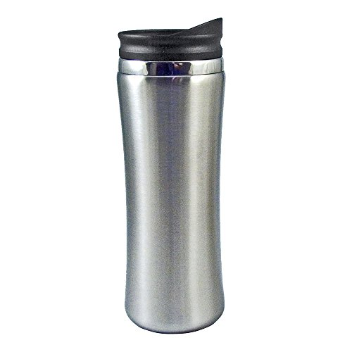 (Liquid Logic Laguna Mug: Stainless Steel Outer with PP Liner and Push-On Slider Lid, 14 oz, Brushed Stainless )