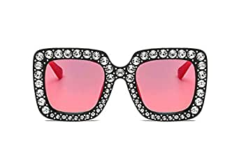 Large Jeweled Sunglasses for Women Crystal Bling Studded Oversized Square Frame (Red, 70)
