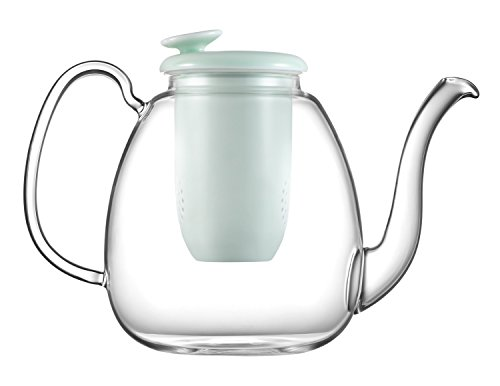 ZENS Large Glass Teapot with Infuser, Cyan Porcelain Strainer, 49OZ/1.4L Enough Serving 4 to 6 Cups for Blooming Flower Tea, Fresh Fruit Tea