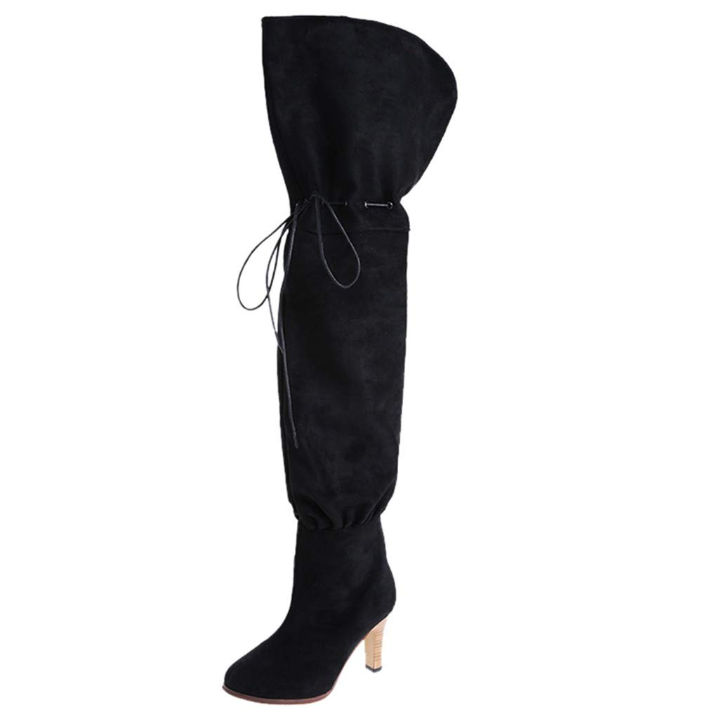 SHUSUEN Women's Over The Knee High Low Block Heel Boots Stretchy Casual Pull on Slouchy Boots Black by SHUSUEN