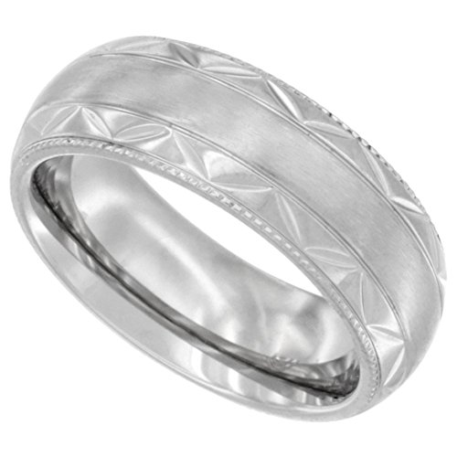 Stainless Milgrain Wedding Zigzag Comfort