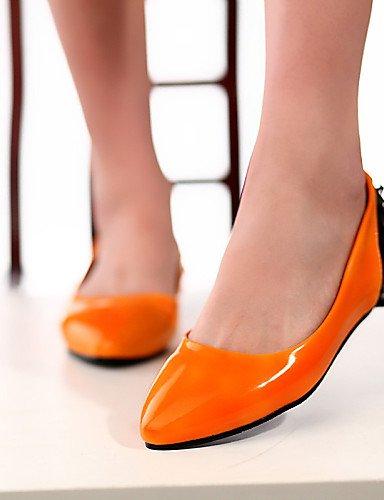 Plat Rond Eu38 orange beige Cn38 Bleu 5 5 Bout Appartements Beige Décontracté Pdx us7 femme Uk5 En Chaussures Similicuir Talon ffXBqx