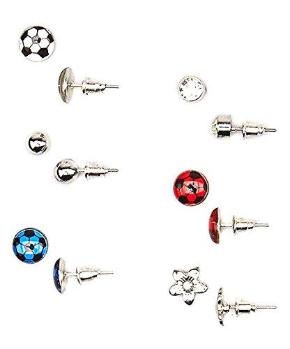 Lux Accessories Kids, Girls & Women's Blue & Red Soccer Futbol Fútbol & Flower Stud Earring Set (Flower Soccer)