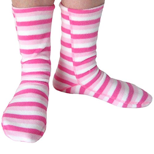 Polar Feet Non-Skid Fleece Socks, Unisex, Made in CANADA, Pink Candy Style (Small (Women's 6-7.5; Men's 5-6))