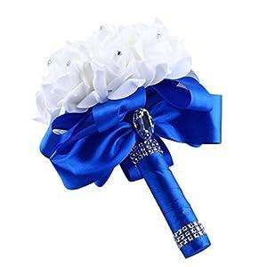 Lljin Crystal Roses Pearl Bridesmaid Wedding Bouquet Bridal Artificial Silk Flowers 119