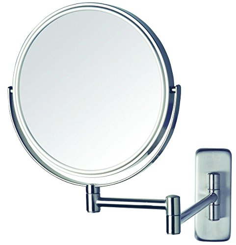 Jerdon JP7506N 8-Inch Wall Mount Makeup Mirror with 5x Magnification, Nickel Finish