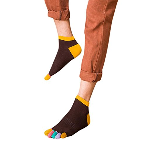 Ammazona Toe Socks Cotton Running Five Finger Multicolor Athletic Socks for Men - Amma Brown
