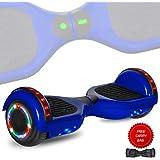DOC Electric Hoverboard Self-Balancing Hoover Board with Built in Speaker LED Lights Wheels UL2272 Certified (_Blue Skull)