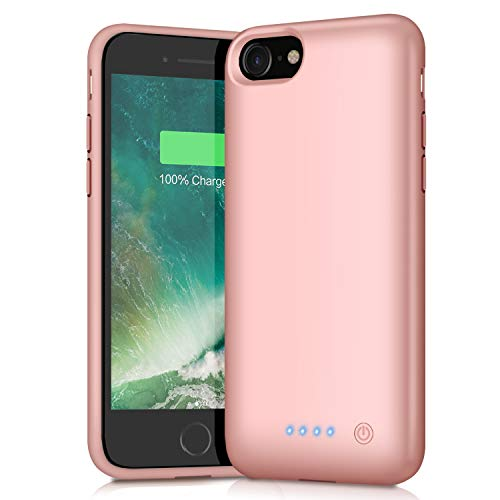 Battery Case for iPhone 8/7, 6000mAh Portable Rechargeable Battery Pack Charger Case for Apple iPhone 8 iPhone 7 [4.7 Inch] Extended Charging Case ProtectivePower Bank Backup Cover - Rose Gold