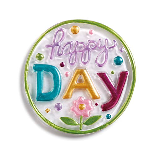 (DEMDACO Happy Day Floral 4 x 4 Glass Pop in Collectible Figurine)