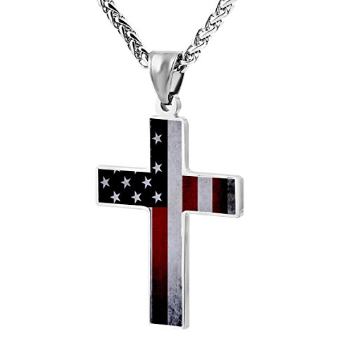 American Flag Cross Necklace Zinc Alloy Chains for Mens, Womens, Boys and Girls Jewelry ()