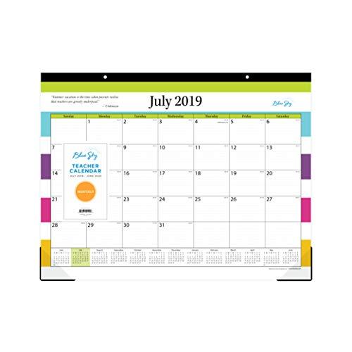 Blue Sky 2019-2020 Academic Year Teachers Monthly Desk Pad Calendar, Ruled Blocks, 22