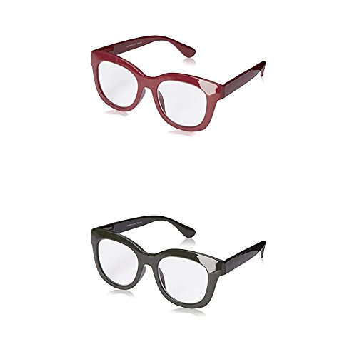 Stage Glass (Peepers Women's Center Stage Reading Glasses 2.0x - Two-Pack (Berry and Olive Gray))