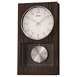 Seiko Modern Dark Wooden Wall Clock with Pendulum and Dual Chimes, Brown