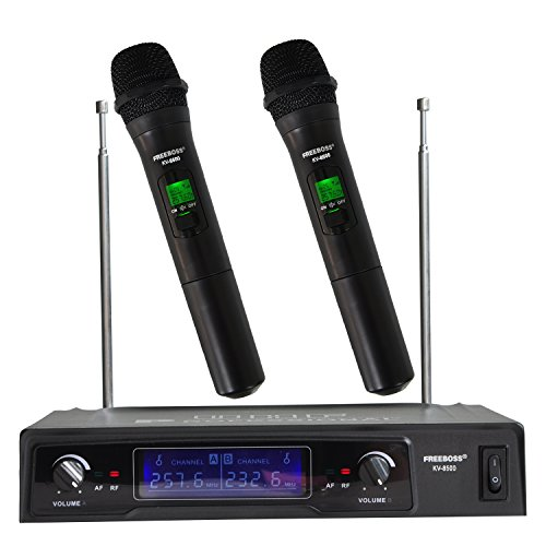 2 Handheld Wireless Microphone Dynamic Capsule Family Party Balanced+Unbalanced Output Wireless Microphone(Black)(without recharge) (Handheld Capsule)