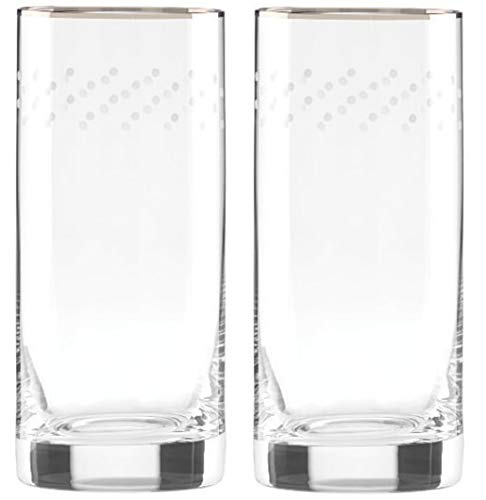 "Lenox kate spade new york Sadie Street crystal Highball Glasses 6.25"", Set of 2 New in box"