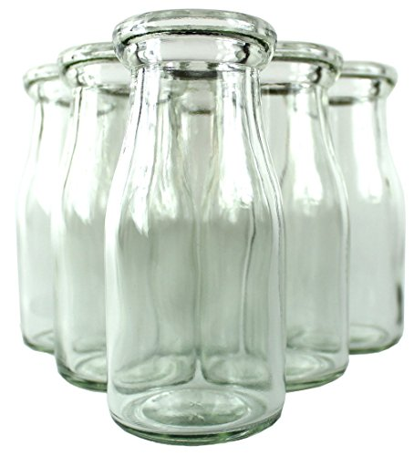 Old Fashioned Heavy Clear Glass Half Pint Milk Bottle, Decanter Cream Server with Lid (6)