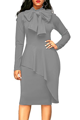 Beautiful Gown (ONLYSHE Womens Bridal Evening Wedding Party Gown Elegant Long Sleeve Bodycon Dress Grey XX-Large)